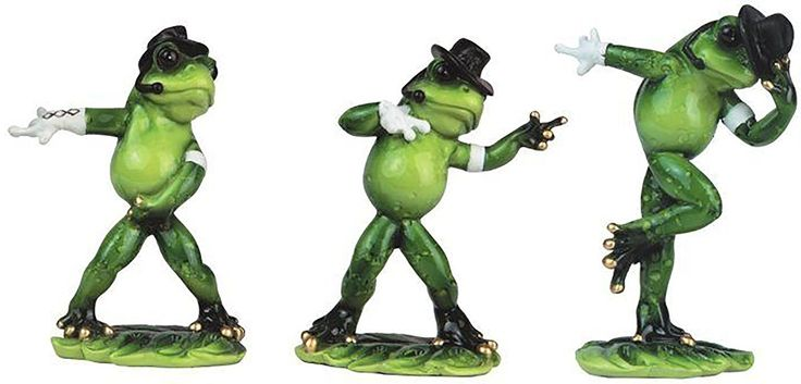 """Amazon.com: Custom & Unique {4.8"""" Inch} 3 Count Set, Home & Garden """"Standing"""" Figurine Decoration Made of Resin w/ Quirky Fun Outdoor Lily Pads & Dancing Comedic Frog Style {Green, White & Black Color}: Home & Kitchen"""