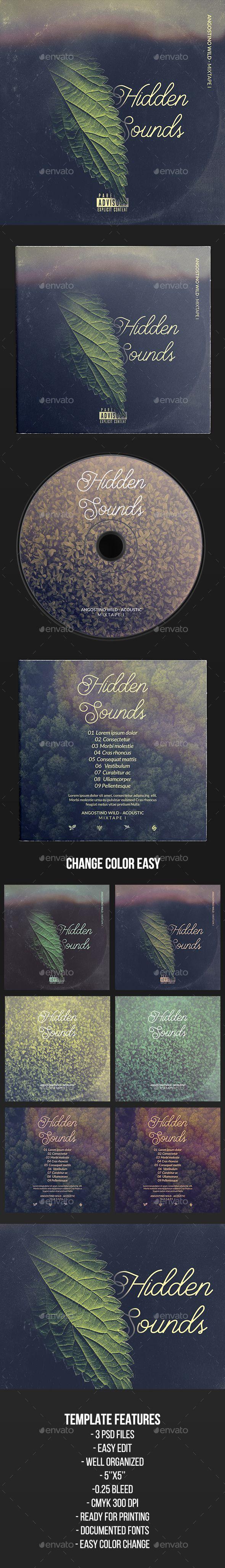 Hidden Sounds - CD Cover Artwork Template PSD