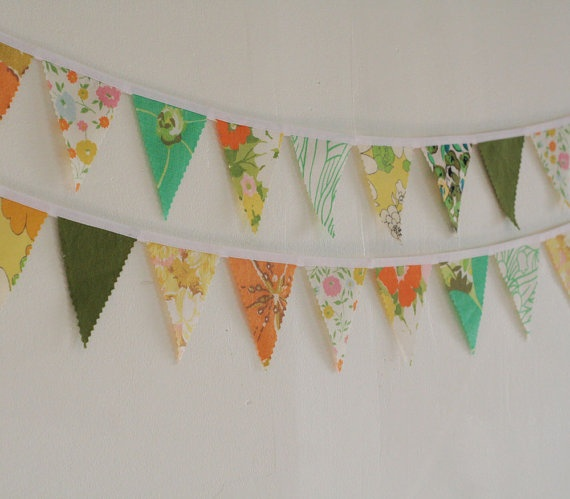 Fabric Bunting Fabric Garland Banner Vintage by knottednest, $24.00