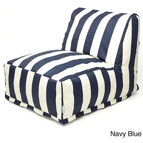 Majestic Home Goods Indoor/Outdoor Vertical Stripe Bean Bag Chair... ($121) ❤ liked on Polyvore featuring home, outdoors, patio furniture, outdoor loungers & day beds, blue, blue chaise lounge, outdoor chaise lounger, outdoor lounger, outdoor bean bags and outdoor furniture