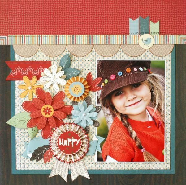 Happy girl scrapbook page