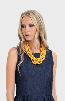 Elk Accessories Layered Wooden Necklace - in Sable (purple) - ($45)