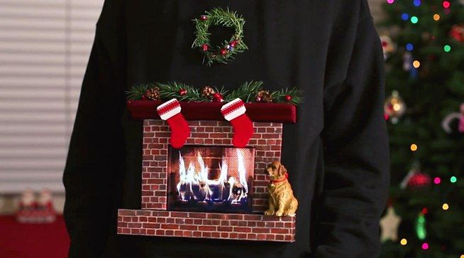 "How to Make the Best ""Ugly Christmas Sweater"" Ever, Complete with Animated Burning Fireplace « Holidays"
