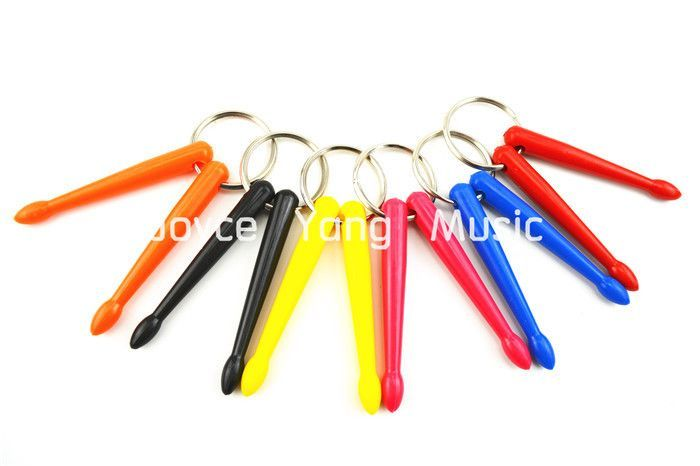 6 Pairs of Colourful Smart Plastic Drum Sticks Keychains Keyrings Free Shipping Wholesales