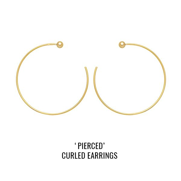'Pierced' open hoops: a pair of open hoops featuring piercing-style small balls. To secure wear them back to front.