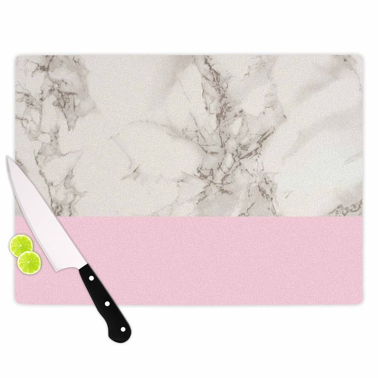 """Suzanne Carter """"Marble And Pink Block"""" Modern Contemporary Cutting Board"""
