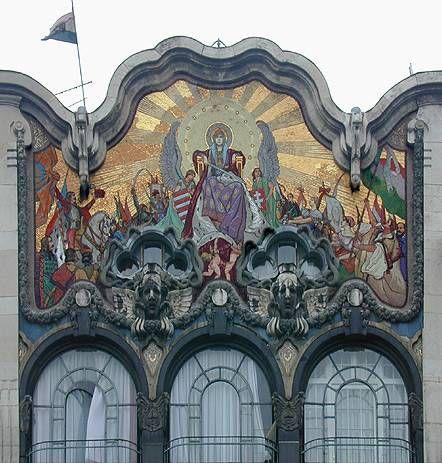 A volt Török Bankház homlokzati mozaikja, 1903.
