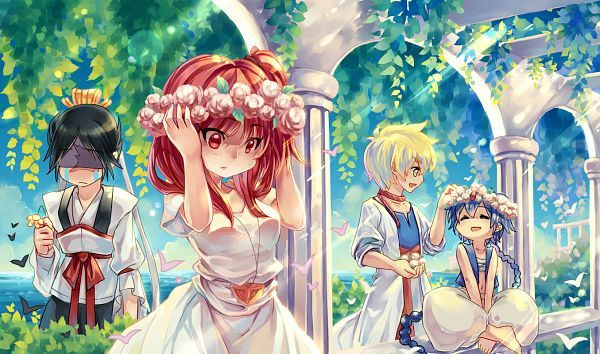 Anime Wallpaper 1355 x 800 MAGI: The Labyrinth of Magic, Ren Hakuryuu, Morgiana, Ali Baba Saluja, Aladdin (Magi)