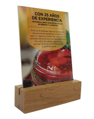 Exhibidor de Madera Natural con Acrílico