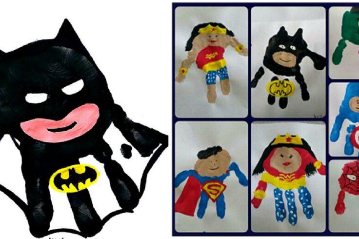 22 Super Héros faits avec les empreintes de mains de vos enfants!