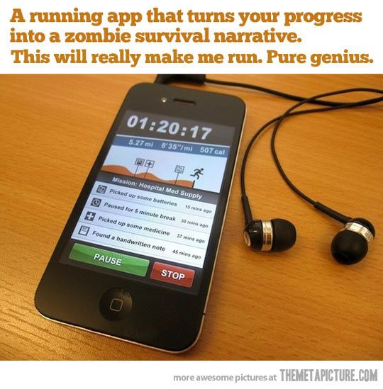 The Zombie Survival App - a running ap that turns your progress into a zombie survival narrative! WANT!