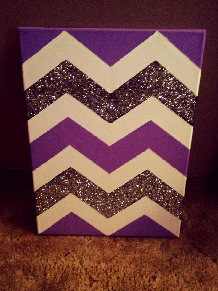 DIY chevron patterned canvas - this would actually look really cute in pink, above Gianna's bed...