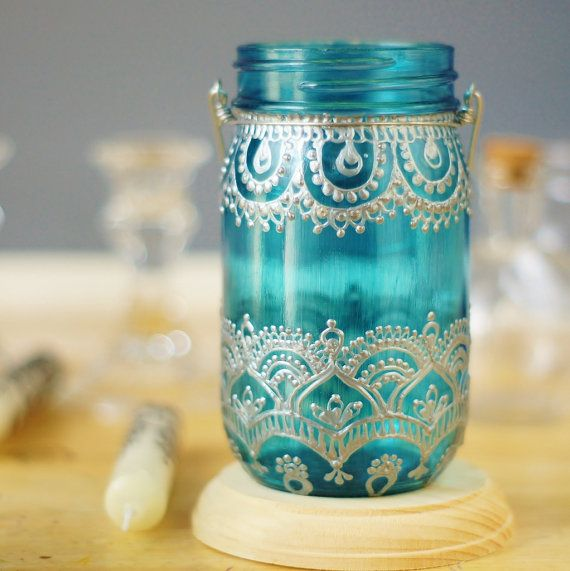 Mason Jar Lantern Moroccan Inspired Teal Glass with by LITdecor
