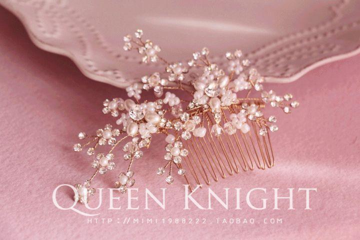 Handmade пользовательские цветы Rhinestone Перл свадебные филиалы невесты позолоченная расческа пластина головной убор - Taobao