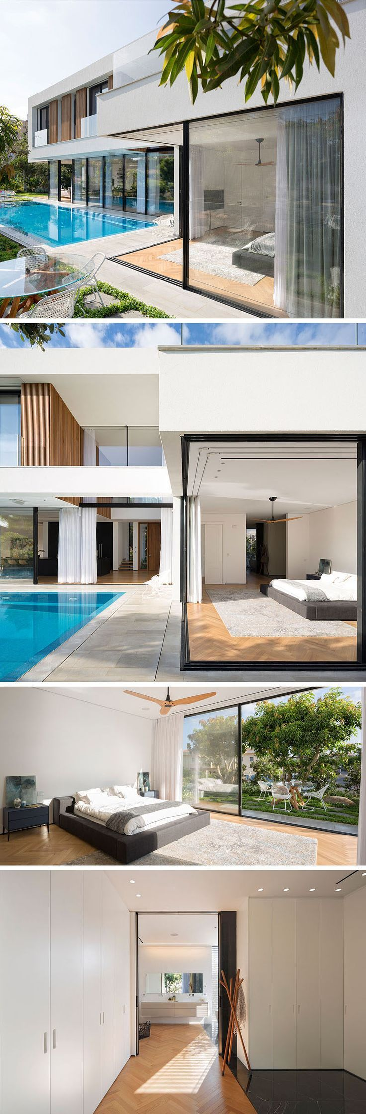 This bedroom, located at one end of the pool, also features a glass corner with sliding glass doors that open up to the swimming pool and small outdoor dining area. Inside, there's a walk-through closet that leads to the ensuite bathroom.