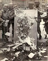Book burning in Chile following the 1973 coup that installed the Pinochet regime in Chile.