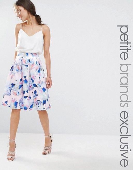 Chi Chi Petite | Chi Chi London Petite Full Prom Midi Skater Skirt In Floral…