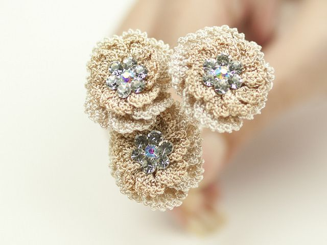 Crochet Ivory Wedding Hair Pins crochet accessory 12 Pinterest