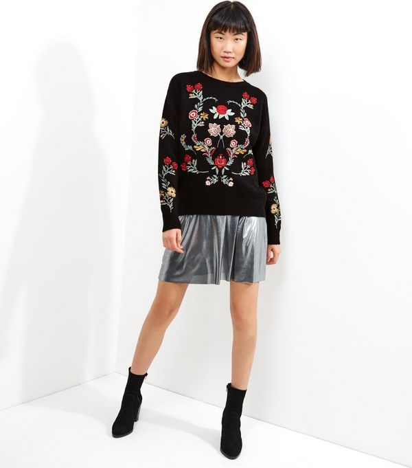 Black Embroidered Long Sleeve Jumper    New Look