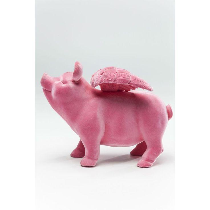 Κουμπαράς Flying Pig Flock Pink Μία γλυκιά και χαριτωμένη ροζ γουρουνίτσα με φτερά, για να αποταμιεύετε τις οικονομίες με στυλ διακοσμώντας  το χώρο σας. Υλικό : Polyresin floking
