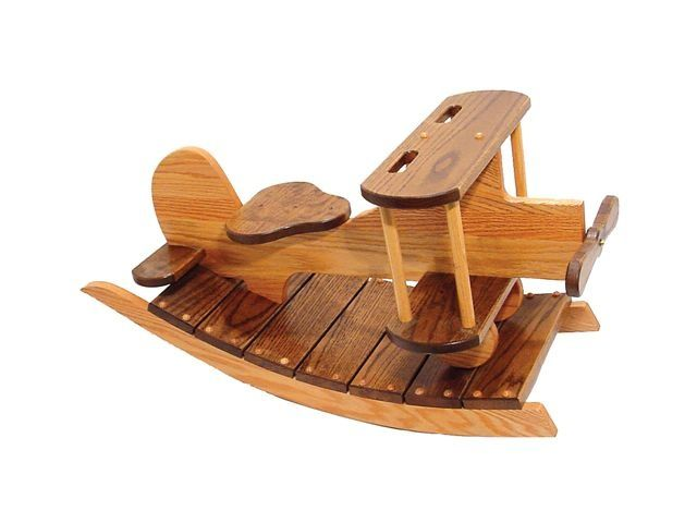 amish wood crafts | Amish Made Wooden Rocking Airplane 5044 | Amish Furniture & Crafts