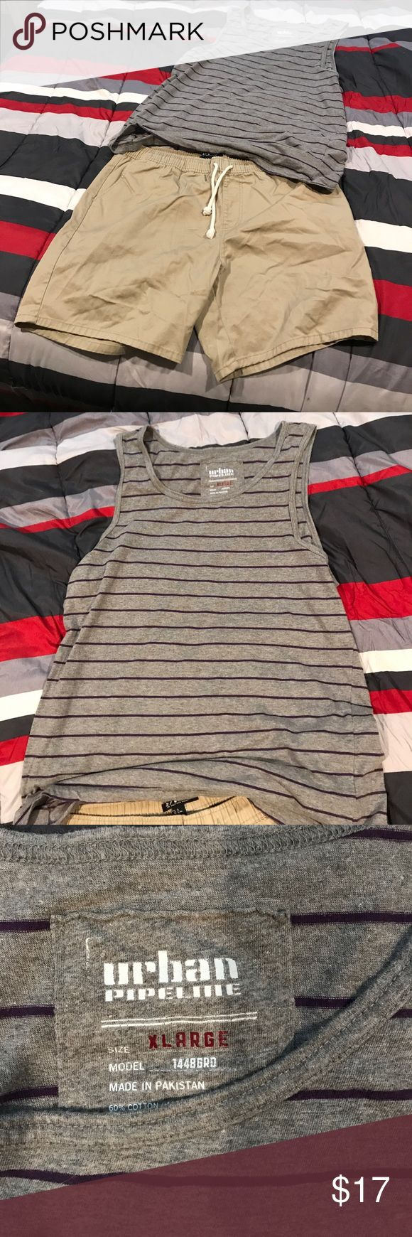 Tank top with shorts Tank top is urban pipeline/ gray with purple stripes. Shorts are forever 21 men that are khaki with two standard pockets 21men Other