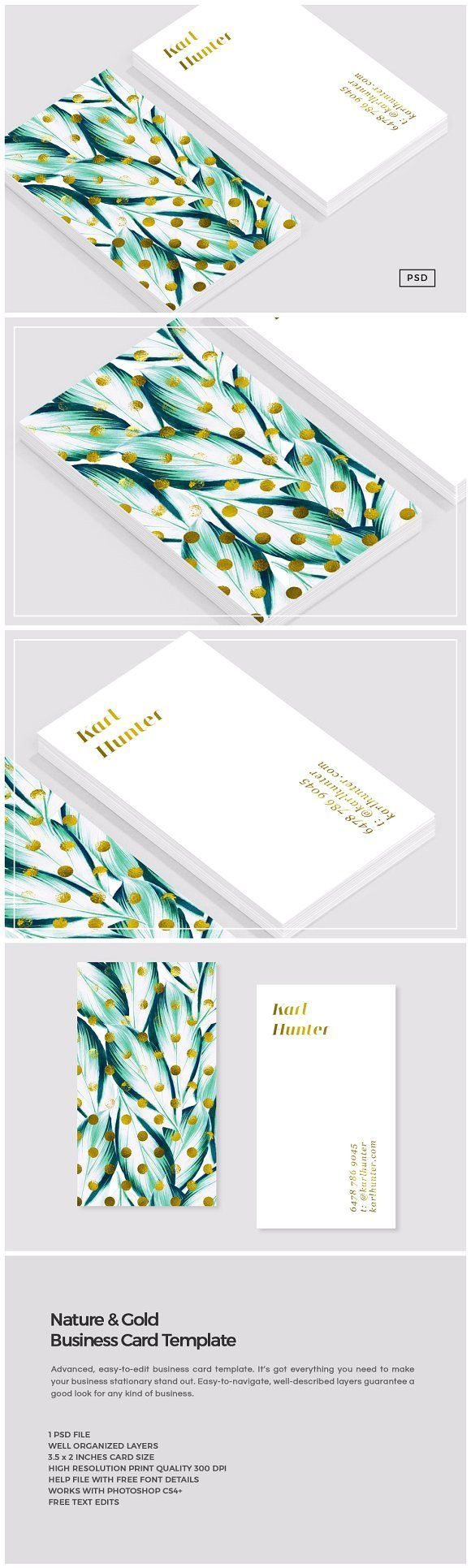 Nature & Gold Business Card Template by The Design Label on @Creative Market