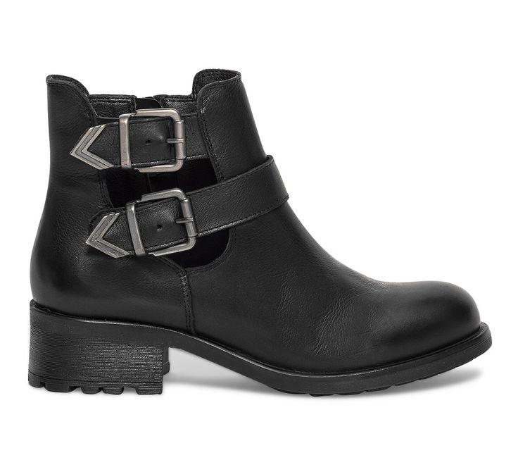 Boots cut out boucles cuir noir - Boots / bottines - Chaussures femme