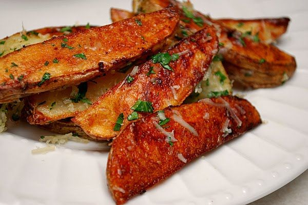 Tyler Florence Garlic Parmesan Oven Fries baked these with his Burger Bar and the taste just blew my mind! He is a culinary guiness! Love Tyler's Ultimate on Food Network! :)