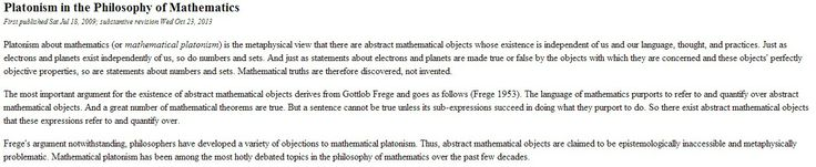 Platonism in the Philosophy of Mathematics
