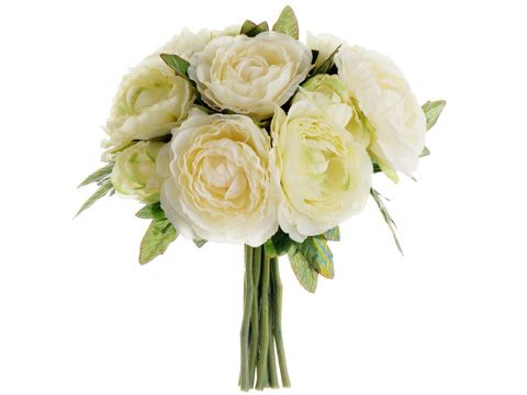 Ranunculus Silk Wedding Bouquet In Cream Green 6 5