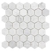 Bianco Carrara Hexagon Marble Mosaic The playful shape of hexagon with the impressive style of marble. Where would you use this light and refreshing Carrara White Hexagon Marble Mosaic?
