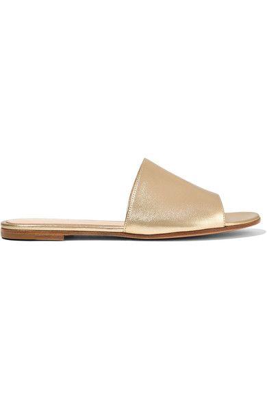 Gianvito Rossi - Metallic Leather Slides - Gold - IT36.5