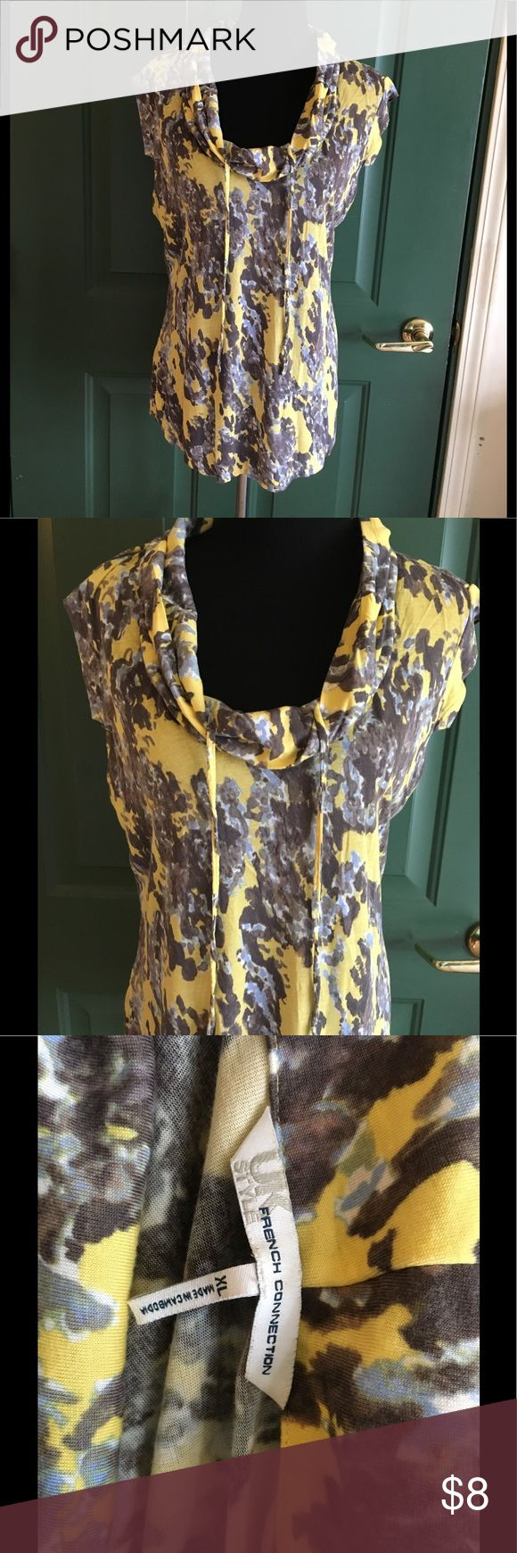 French Connection Cowl Neck Top XL Yellow and grey print top. Cowl neckline with accent strings.  Cap sleeves. Tshirt Knit.  Size XL. From French Connection UK Style.  Good condition.  Important:   All items are freshly laundered as applicable prior to shipping (new items and shoes excluded).  Not all my items are from pet/smoke free homes.  Price is reduced to reflect this!   Thank you for looking! French Connection Tops Tees - Short Sleeve
