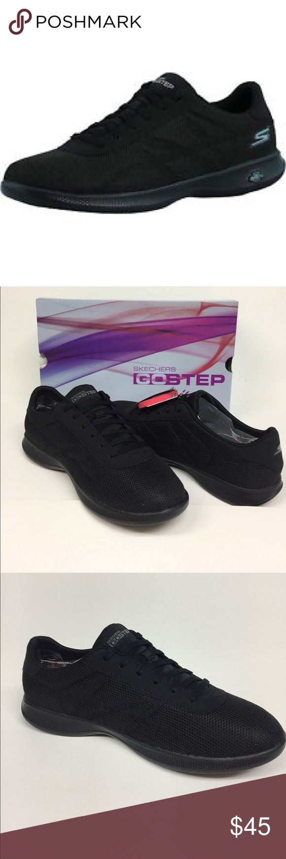 Skechers Go Step Lite women's Black Shoe 14488 NIB The sketchers go step light persistence shoe combines innovation and style in a modern athletic look. Features mesh and synthetic upper in a lace up walking casual sneakers design. Side S logo. Color is black. Brand new in box Skechers Shoes Athletic Shoes