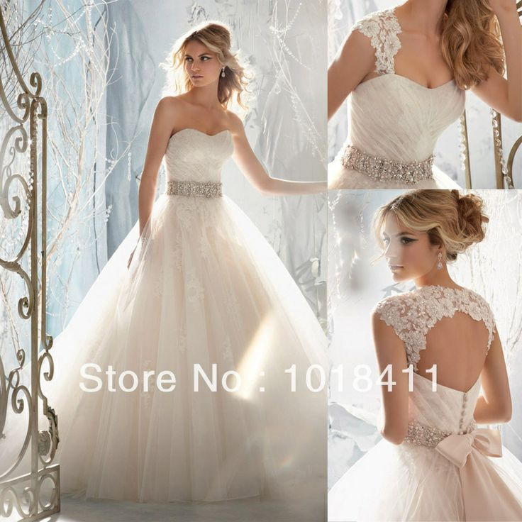 Luxury Open Back Lace Wedding Dresses 2014 Sweetheart Beaded Bridal Ball Gowns Free Shipping $158.99