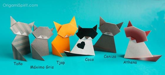 Easy Origami Cat.  Video by Leyla Torres.  Two squares.  Cute, but difficult to make it standing up, and unsteady because the head just balances on the body.