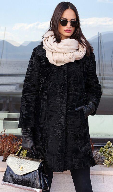Swakara fur with whole skins. Made in Italy. Skins Quality: First quality; Color: Black; Closure: With hooks; Collar: Plat; Lining: 100% Satin; Lining Color: Fantasy, Multicolor; Length: 95 cm; #elsafur #fur #furs #furcoat #coat #mink #minkcoat #cappotto #peliccia #pellicce #НОРКА #ЛИСА #СОБОЛЬ #ШИНШИЛЛА #РЫСЬ #КОЖА #ПИТОНА #АКСЕССУАРЫ #ДРУГОЕ