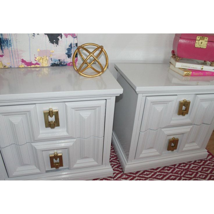 White Lacquered Hollywood Regency Palm Beach Regency End Tables   A Pair  Refinished By Me Using