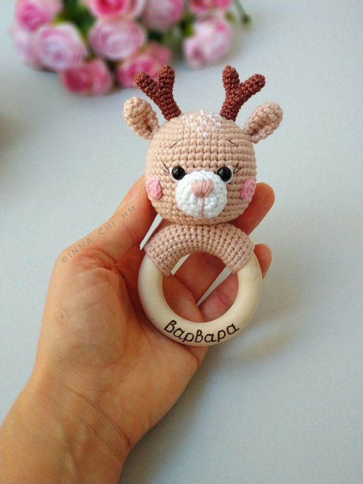 Deer rattle, personalized rattle