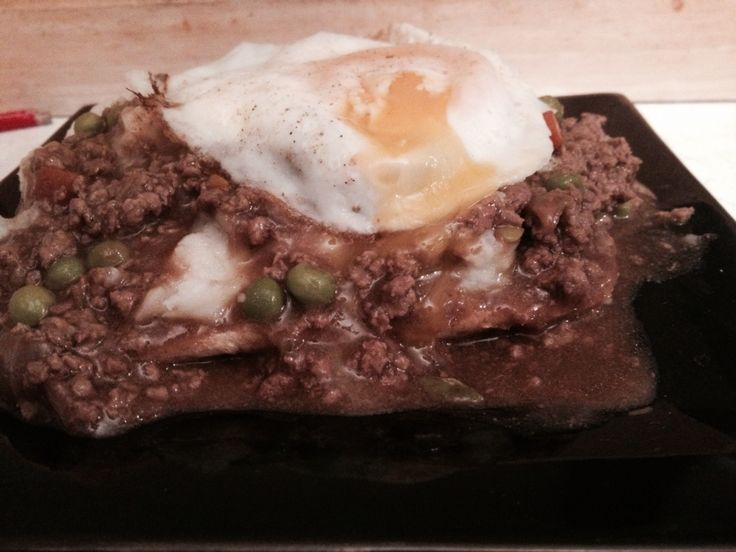 Left over Mince with an egg on top...