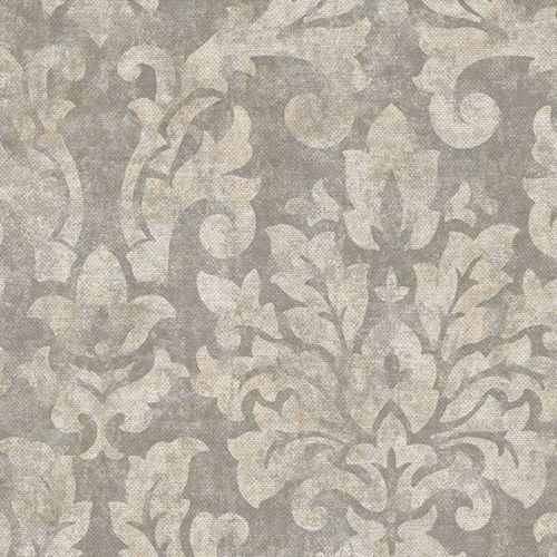 Sophisticated Damask On Gray Wallpaper