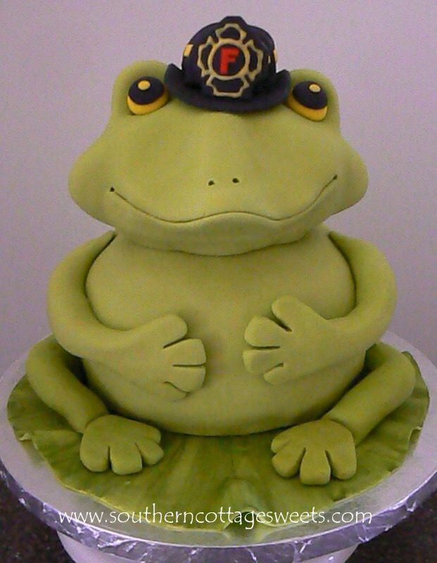 Grooms cake for a firefighter nicknamed Frog  www.denmarkcottage.com