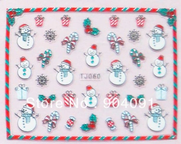 2014 НОВЫЙ 20 ЛИСТОВ/СЕРИЯ 3D Блеск Серебра Рождественский дизайн ногтей, Nail Art Рождество Серии ногтей Аксессуары + индивидуально пакет