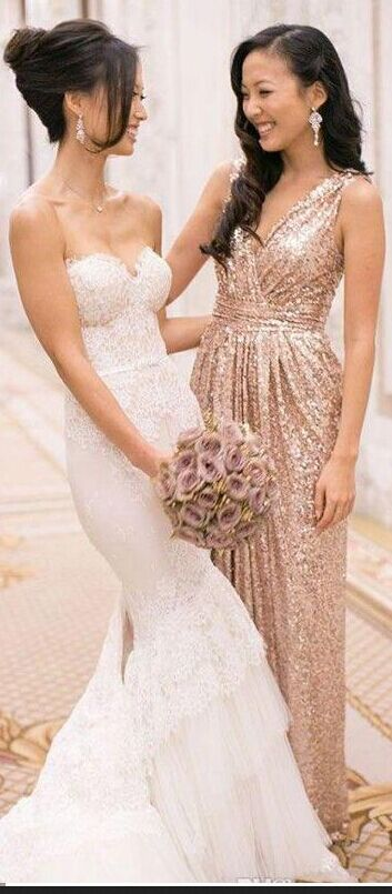 High Fashion V Neck Sleeveless Pleat A Line Floor Length Long Gold Bridesmaid Dress Sequins Dress For Wedding Party