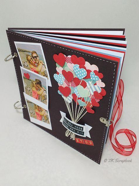 Álbum de fotos em scrapbook (visão geral das páginas internas coloridas sem estampa)