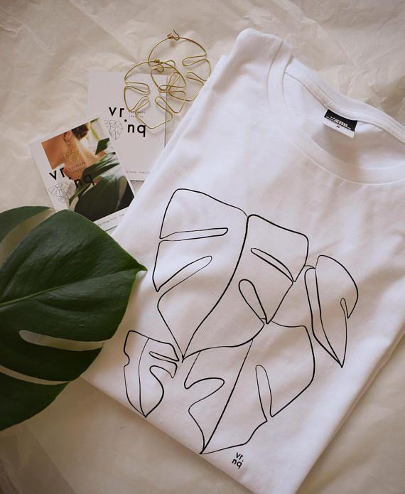 Monstera T-Shirt Line Art Unisex Gr.L handmade silkscreen