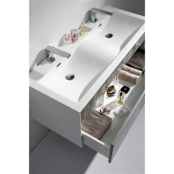 """KubeBath Fitto 48-inch Double Sink Bathroom Vanity Tona Wall Mount Bathroom Vanity in Ash Gray, Double, 48"""", by Aqua & Kubebath"""
