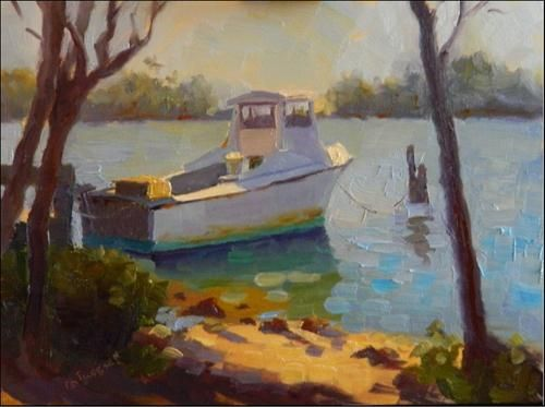 """No crabs today!plein air, 11x9, oil on board, boats, fishing baots, snow crab legs, Osprey, Florid"" - Original Fine Art for Sale - © Maryanne Jacobsen"