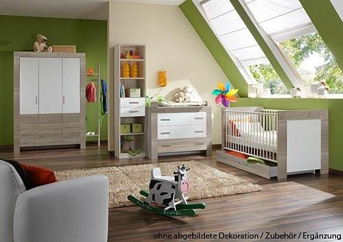 Good Babyzimmer tlg in Wei mit Absetzungen in Eiche S gerau Dekor Schrank